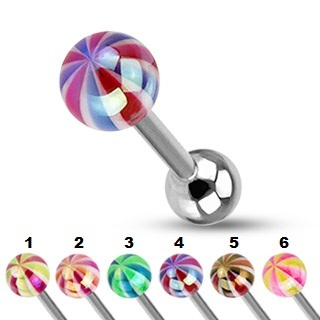 Surgical Steel Barbell / Tongue Bar with Metallic Coating Candy Ball