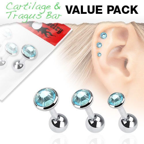 3 Pack of Cartilage Bars with Mixed Sized Aqua Gems