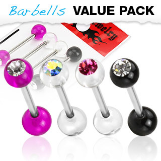 4 Pack of Assorted Colour Titanium Anodised Barbells / Tongue / Nipple Bar