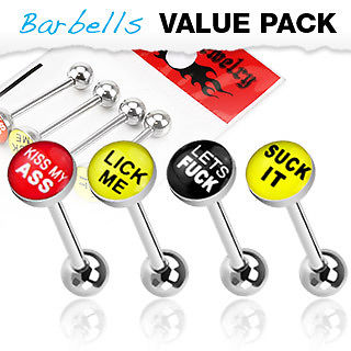 4 Pack of  Rude Word Barbell Tongue Bars  with Epoxy Dome Ball