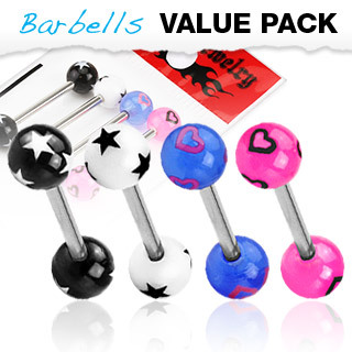 4 Pack of  Surgical Steel Barbells / Tongue Bars with Stars or Hearts Pattern