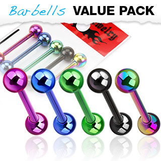 5 Pack of Titanium Anodised Tongue Bars / Barbells