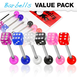 6 Pack of  Barbells  Tongue bars with UV Dice