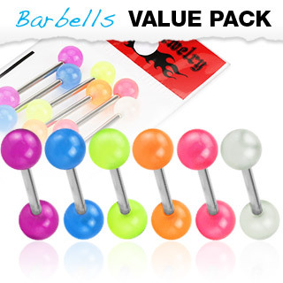 6 Pack of  Surgical Steel Barbells / Tongue / Nipple Bars with Glow In The Balls