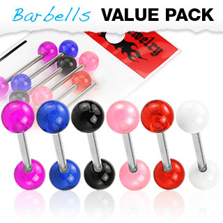 6 Pack of Surgical Steel Barbells with UV Balls - Tongue or Nipple