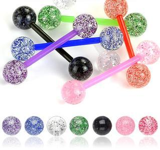 7 Pack of Bio-Flex Tongue Bars / Barbells with Ultra Glitter UV Balls