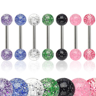 7 Pack of Surgical Steel Tongue Bars / Barbells with UV Ultra Glitter Balls