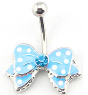 Aqua Polka Dot Bow Belly Button Bar