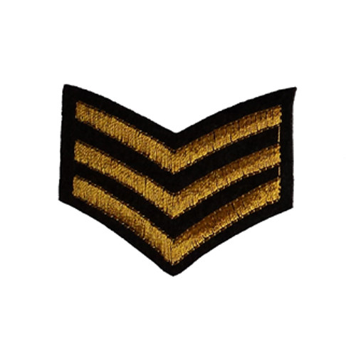 Army Sergent Stripes Iron / Sew On Embroidered Patch