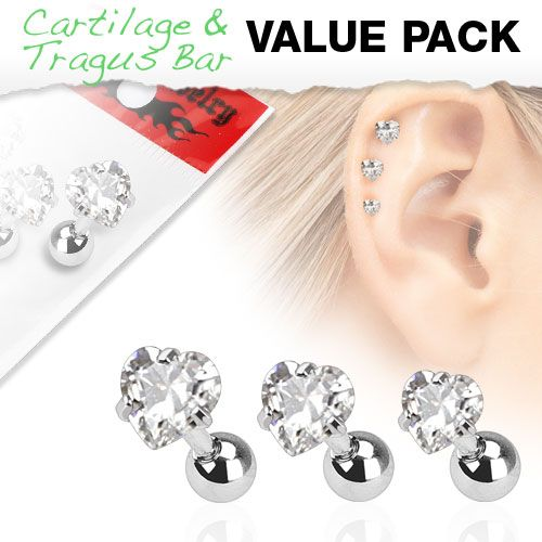 Assorted 3 Pack of Cartilage Bars with Clear Gem Hearts