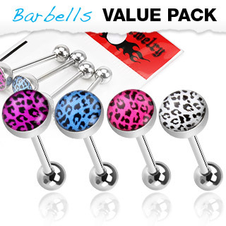Assorted Colour 4 Pack of Tongue Bars  with Leopard Print Balls