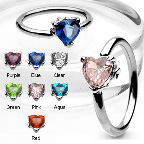 Ball Closure Ring with Heart Gem