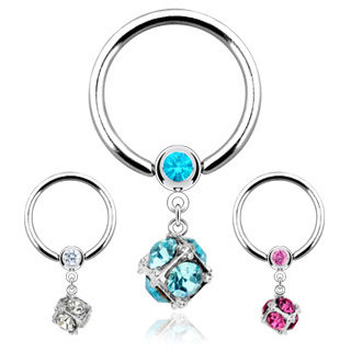 Ball Closure Ring with Multi Gem Paved Dice