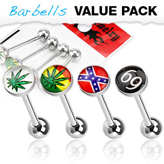 4 Pack of Assorted Logo Surgical Steel Barbell / Tongue Bar with Epoxy Dome Ball