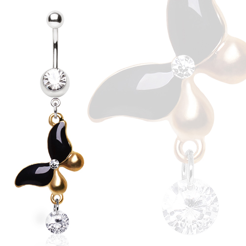 Belly Bar with Antique Gold and Black Gem Butterfly Dangle