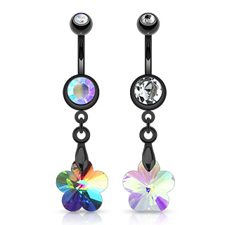 Black Belly Bar with Crystal Ray Prism Flower