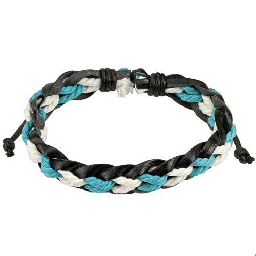 Black Leather Bracelet with Blue and White Braided Strings Center