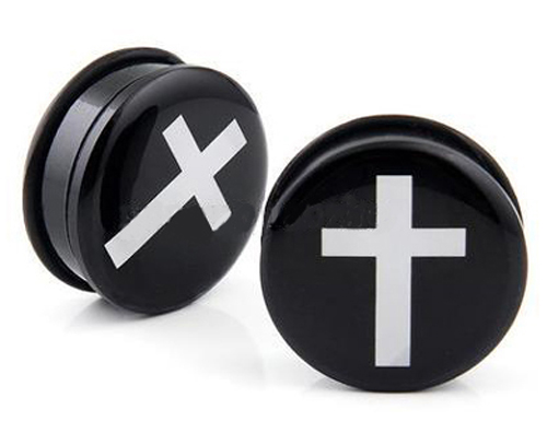 Black with White Cross Acrylic Hollow Screw-fit Ear Stretcher Plug