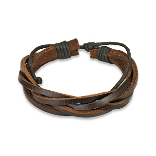 Brown Leather Weave Bracelet with Sliding Tie-Knot Closure