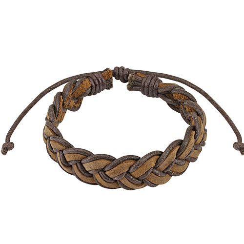 Brown Mermaid Braided Leather Bracelet with Drawstrings