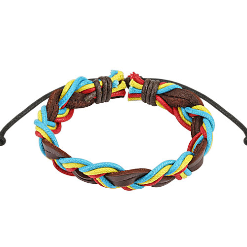 Brown Triple Coloured Rasta Braided Leather Bracelet with Drawstrings
