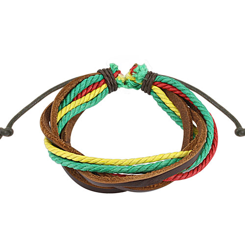 Brown with Triple Coloured Rasta Leather Bracelet with Drawstrings
