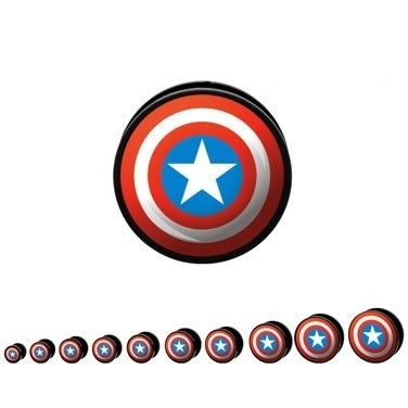 Captain America Hollow Screw Fit Ear Stretcher
