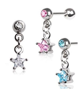 Cartilage Bar Piercing with Star Gem Dangle