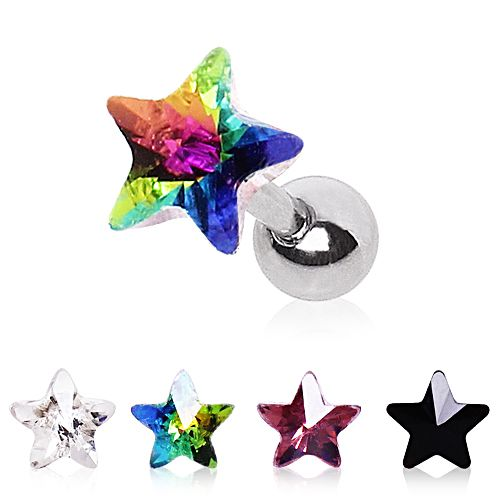 Cartilage Earring with Star Prism Top