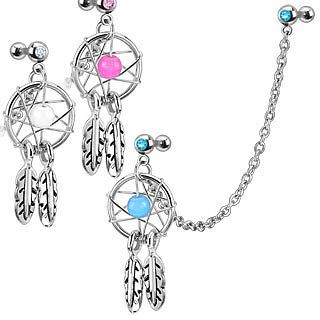 Chain Linked Cartilage Earring with Dream Catcher Dangle