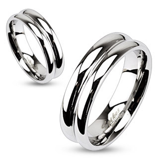 Double Dome Mirror Polished Band Ring / Wedding Band - Stainless Steel
