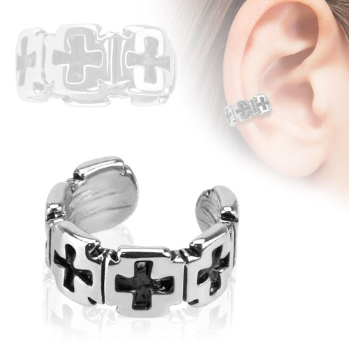 Ear Cuff with Iron Cross Pattern (Clip On)