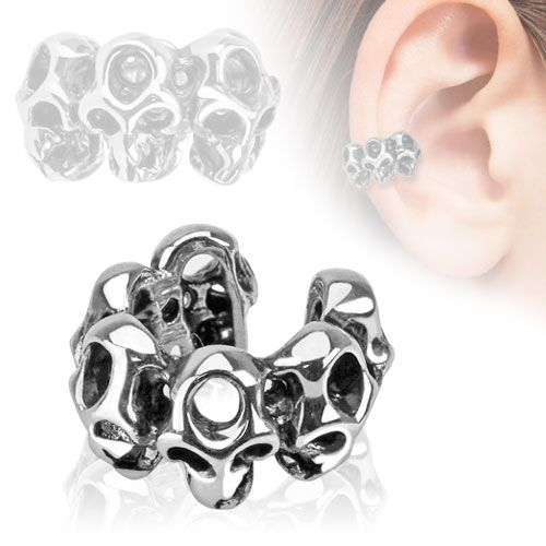 Ear Cuff with Multi Skulls (Clip on)