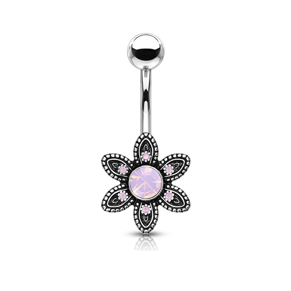 Flower Belly Bar Ring with Pink Opal Gems