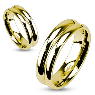 Gold IP Stainless Steel Double Dome Mirror Polished Band Ring / Wedding Band