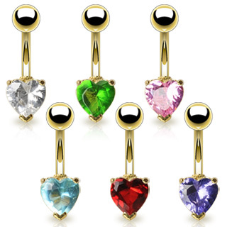 Gold Plated Belly Bar with  Heart Gem