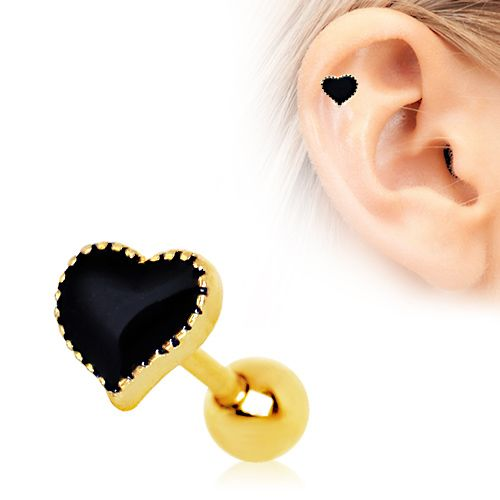 Gold Plated Black Heart Cartilage Earring