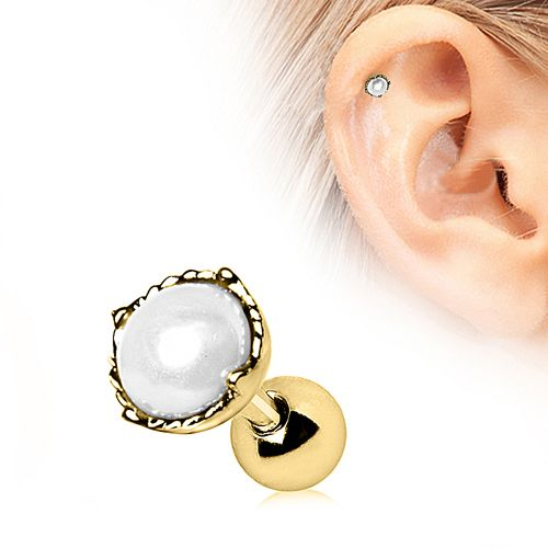 Gold Plated Crown Pearl Cartilage Bar