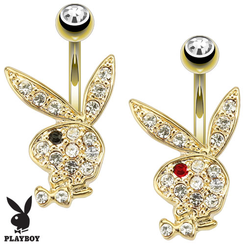 Gold Plated Licensed Playboy Belly Bar with CZ Gem Bunny Head