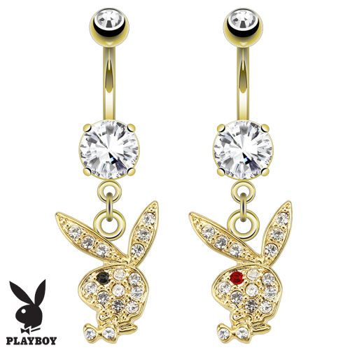 Gold Plated Playboy Bunny Dangle Belly Bar with Gem Eye