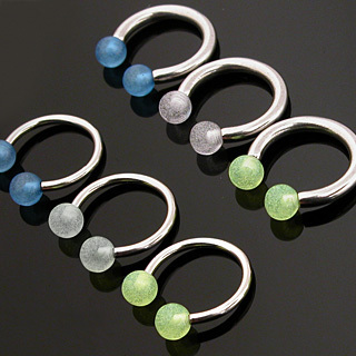 Horseshoe Barbell with Glow in the Dark Balls