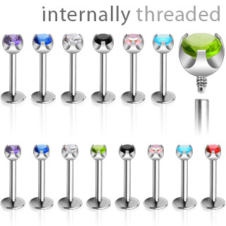 Internally Thread Labret Stud with Prong Set Gem