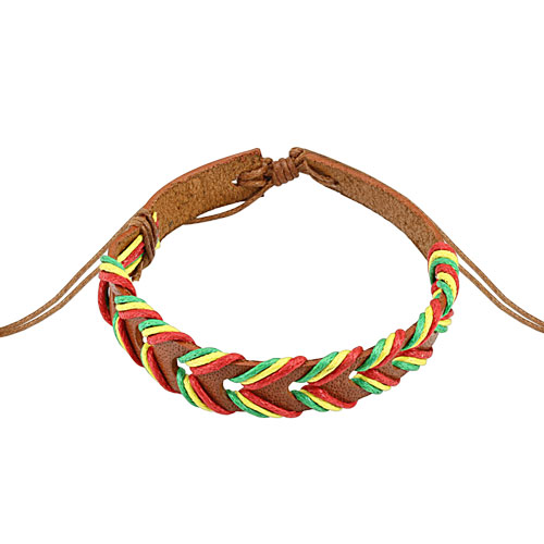 Light Brown Rasta Weaved Leather Bracelet with Drawstring