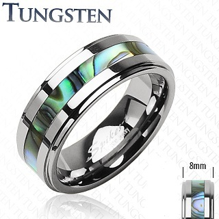 Mens Tungsten Band Ring with Abalone Shell Centre