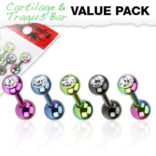 Mixed 5 Pack of Titanium Plated Gem Top Cartilage Bars