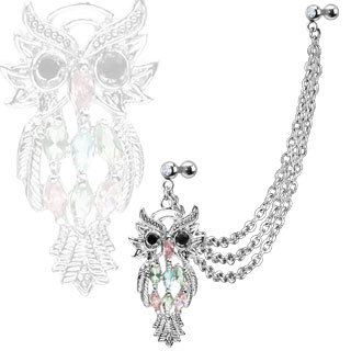 Multi Chain Dangle Marquise Gemmed Owl Cartilage / Tragus Barbell