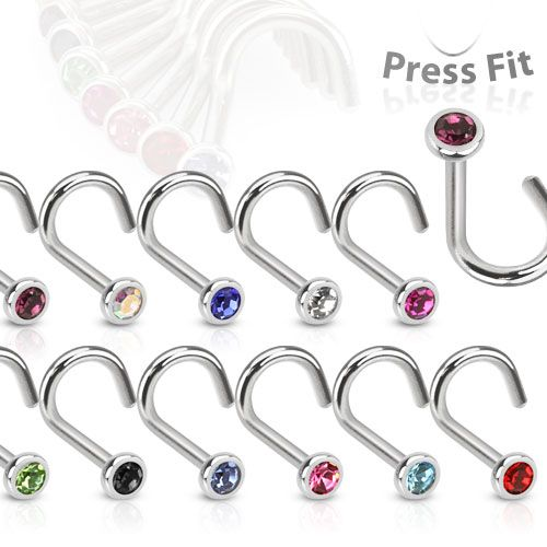 Nose Screw Stud with CZ Gem