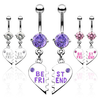 Pair of Best Friend Charm Dangle Belly Bar
