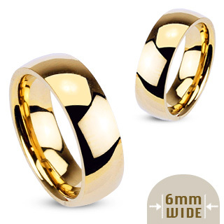 Stainless Steel Gold IP Glossy Mirror Polished Traditional Wedding Band (6mm Width)