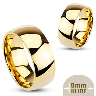 Stainless Steel Gold IP Glossy Mirror Polished Traditional Wedding Band (8mm Width)